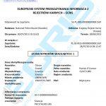 Sample of a Swedish criminal record certificate from the Criminal Records Registry of the National Police Board (Brottsbelastningsregistret).