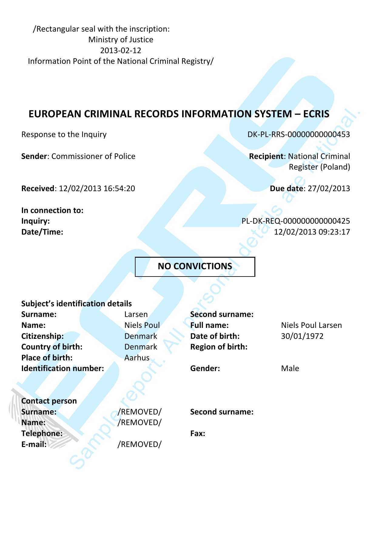 danish criminal record check from central criminal records