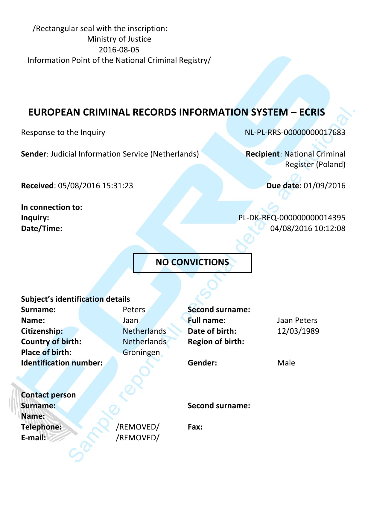 dutch criminal record check from casier judiciaire
