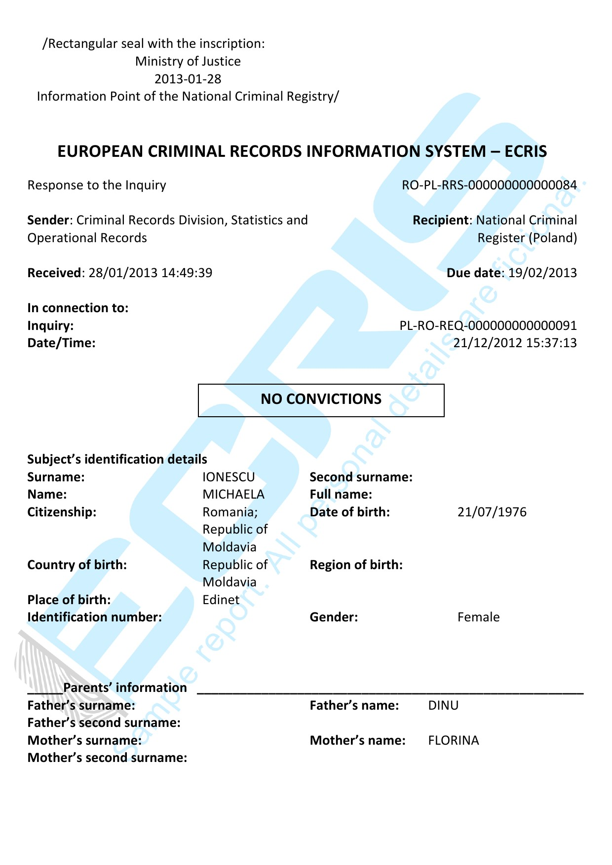 Romanian criminal record check from central criminal records ecris sample report yadclub Gallery