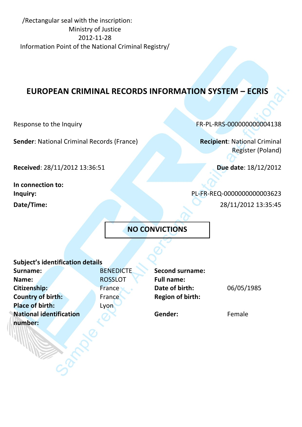 french criminal record check from national judicial record