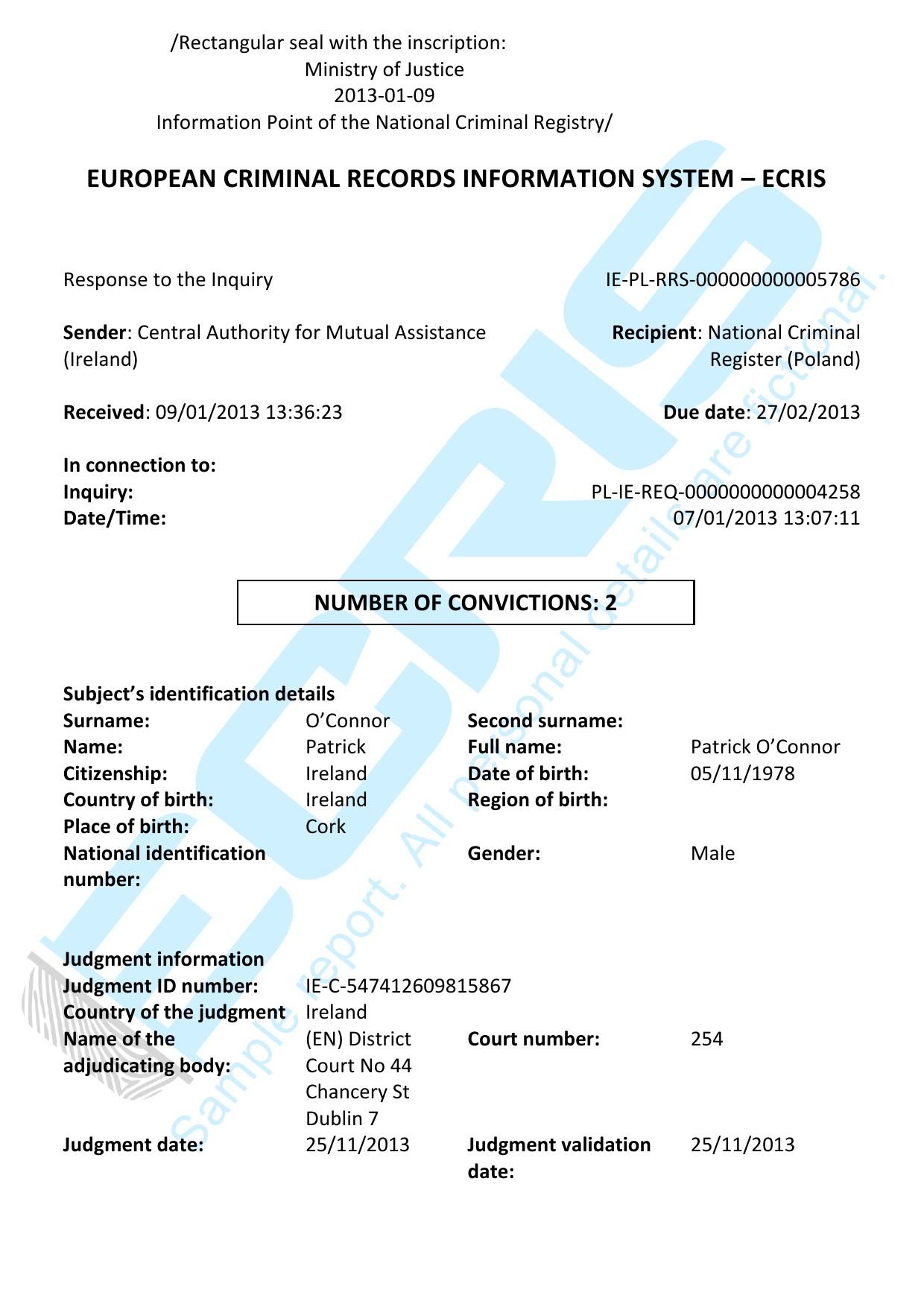 irish criminal record check from garda central vetting
