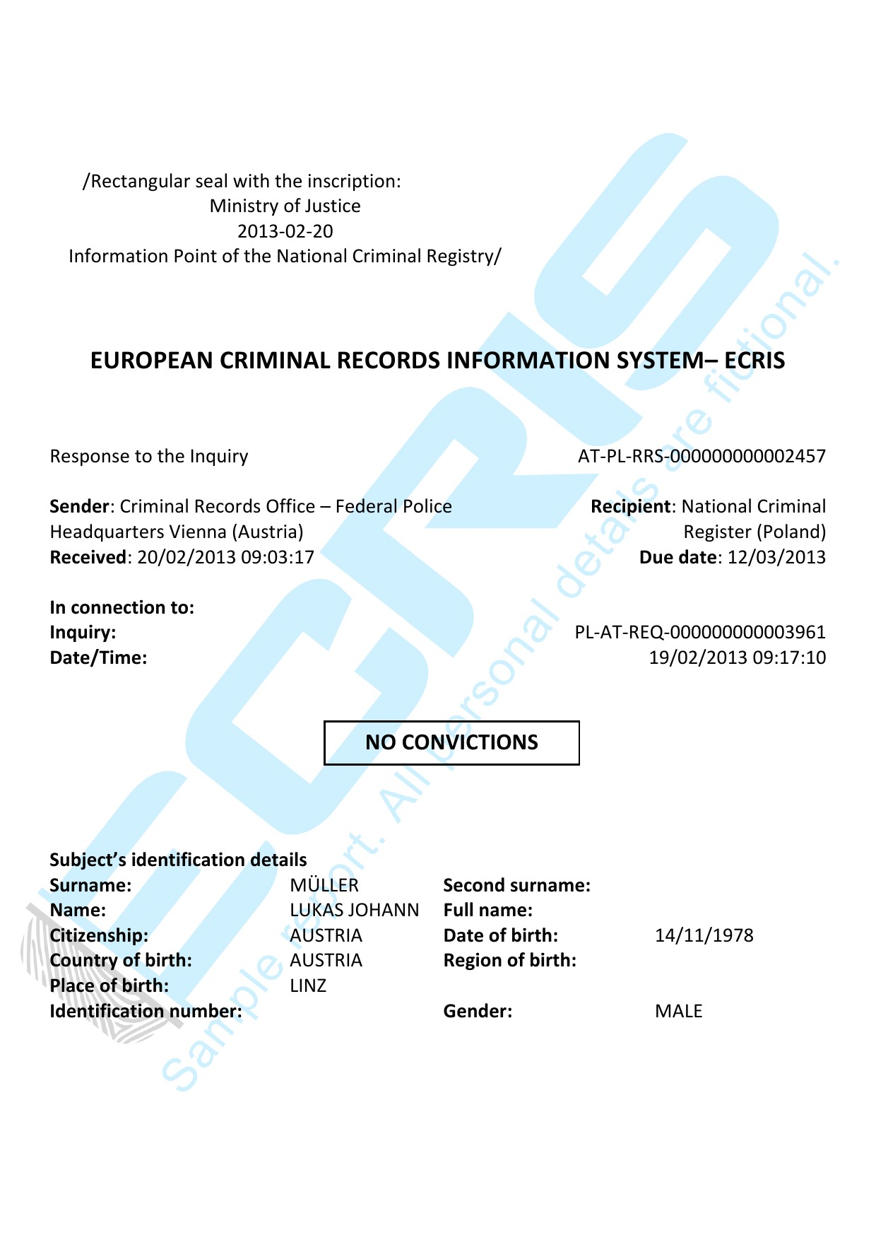 austrian criminal record check from federal police bureau