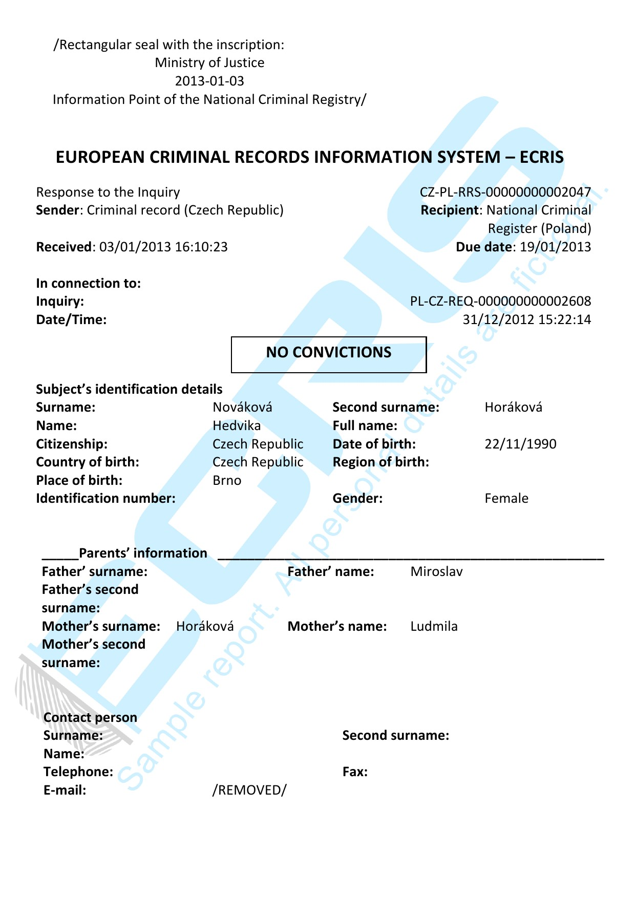 czech criminal record check from criminal records office