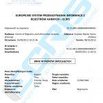 Sample of an Estonian criminal record certificate from the Punishment Register (Karistusregister).