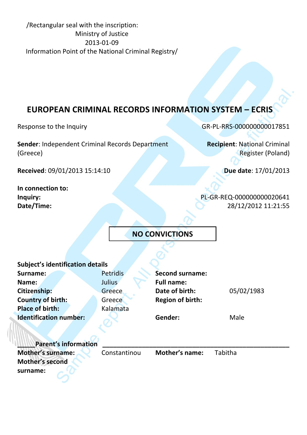 greek criminal record check from penal registration