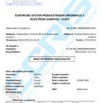 Sample of a Greek criminal record certificate from the Penal Registration Department / Penal Records Service of the Public Prosecutor's Office of District Court Judges (Εισαγγελία Πρωτοδικών / Αυτοτελές Τμήμα Ποινικού Μητρώου Υπουργείο Δικαιοσύνης Διαφάνειας).