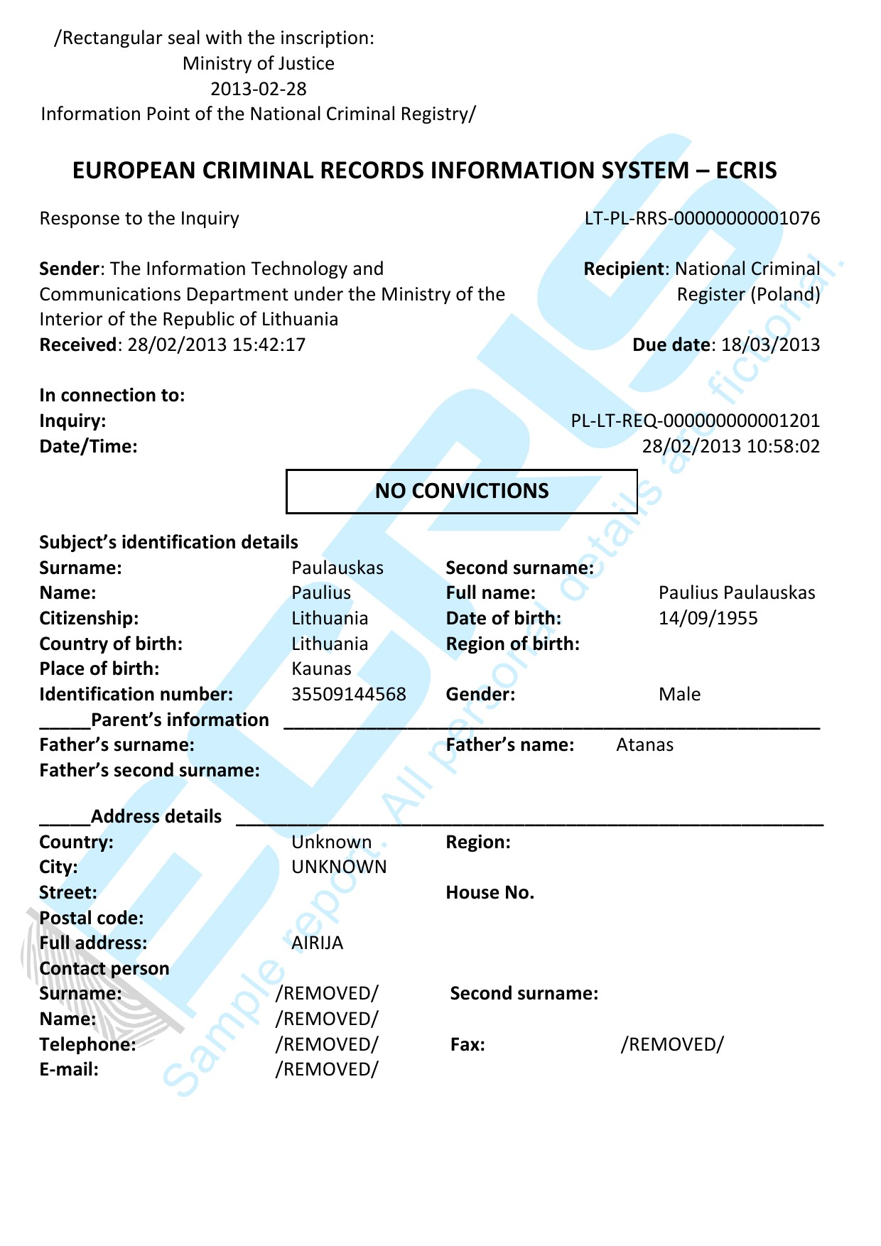 lithuanian criminal record check from institutional