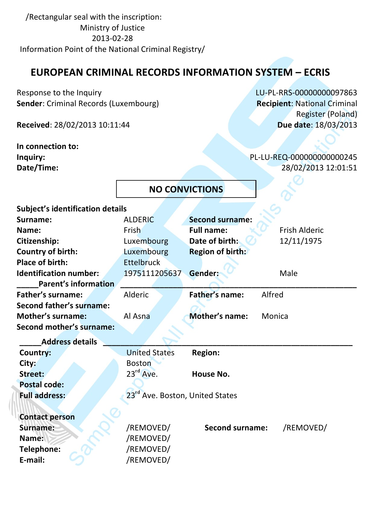 luxembourg criminal record check from palace of justice
