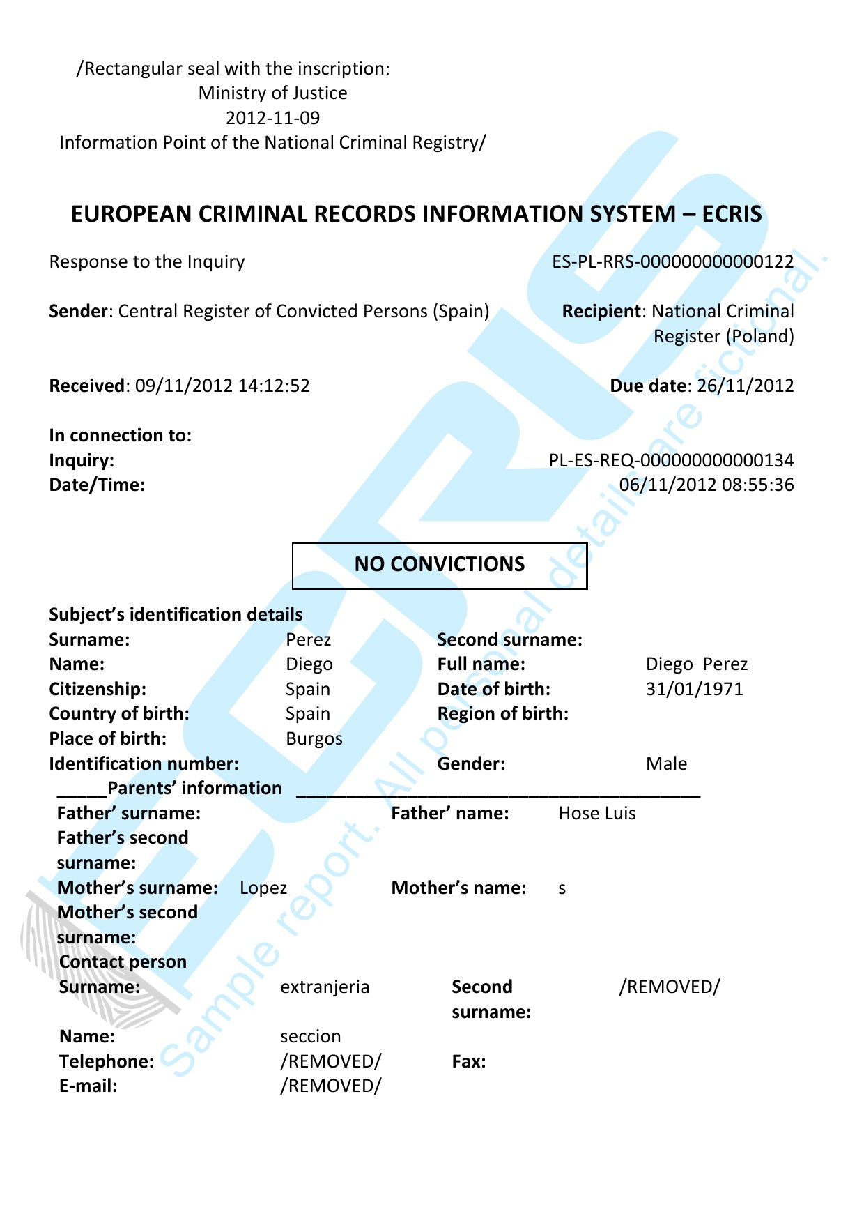 spanish criminal record check from central register of